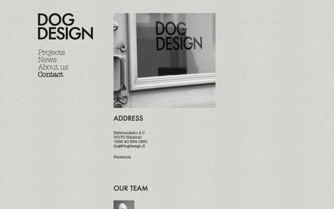 Screenshot of Contact Page dogdesign.fi - Contact / Dog Design - captured Sept. 30, 2014
