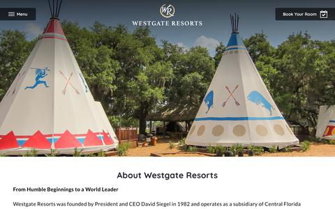Screenshot of About Page westgateresorts.com - About Us | Westgate Resorts - captured Nov. 16, 2019