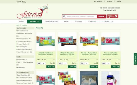 Screenshot of Products Page fair-etail.in - Buy NGO Products online India | Ngo Products India - Fair-etail - captured Sept. 23, 2014