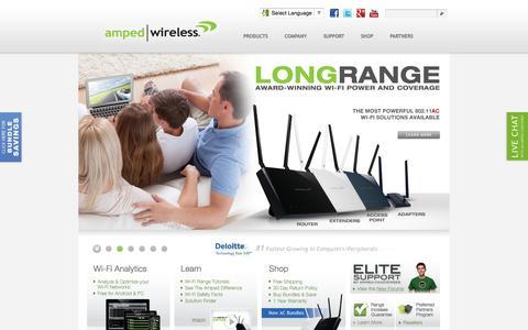 Screenshot of Home Page ampedwireless.com - Amped Wireless - High Power, Long Range Wireless Solutions - captured Sept. 23, 2014