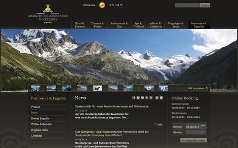 Screenshot of Press Page kronenhof.com - Grand Hotel Kronenhof Pontresina: News - captured Oct. 3, 2014