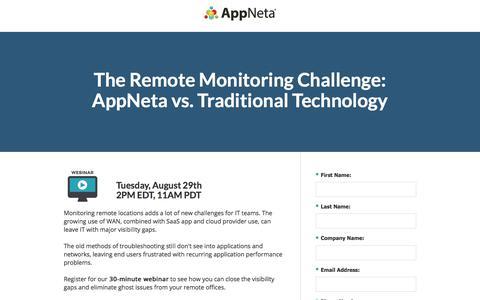 Screenshot of Landing Page appneta.com - The Remote Monitoring Challenge: AppNeta vs. Traditional Tech - captured Sept. 2, 2017