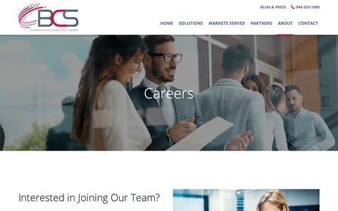Screenshot of Jobs Page bcsconsultants.com - Careers - Irvine, Los Angeles, Phoenix | Business Communications Solutions - captured Oct. 14, 2018