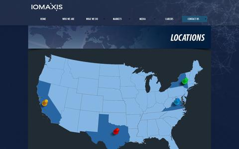 Screenshot of Locations Page iomaxis.com - LOCATIONS - captured July 22, 2016