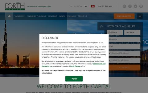 Screenshot of Home Page forthcapital.com - Forth Capital | Tax & Financial Planning for Expats - captured Oct. 22, 2015