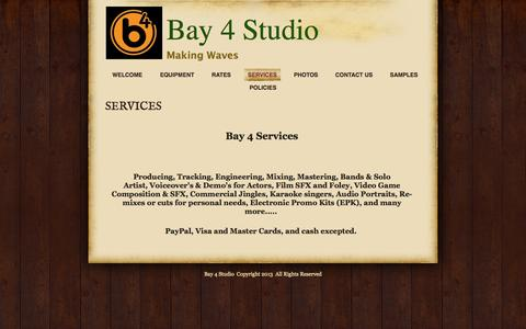 Screenshot of Services Page bay4studio.com - SERVICES | Bay 4 Studio - captured Sept. 30, 2014