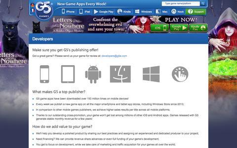 Screenshot of Developers Page g5e.com - G5 Games :: Developers - captured Sept. 24, 2014
