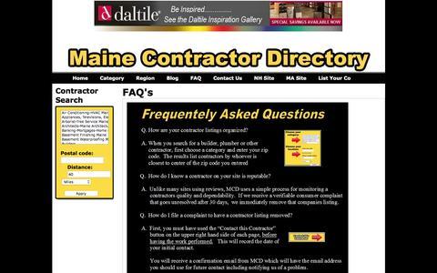 Screenshot of FAQ Page mainecontractordirectory.com - FAQ's - Maine Contractor Directory - captured Dec. 21, 2015