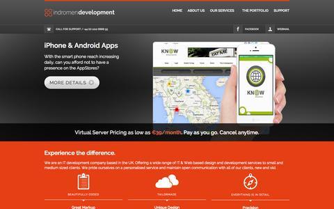Screenshot of Home Page indromen.com - Indromen Development - Web, Mobile, Cloud - captured Oct. 6, 2014