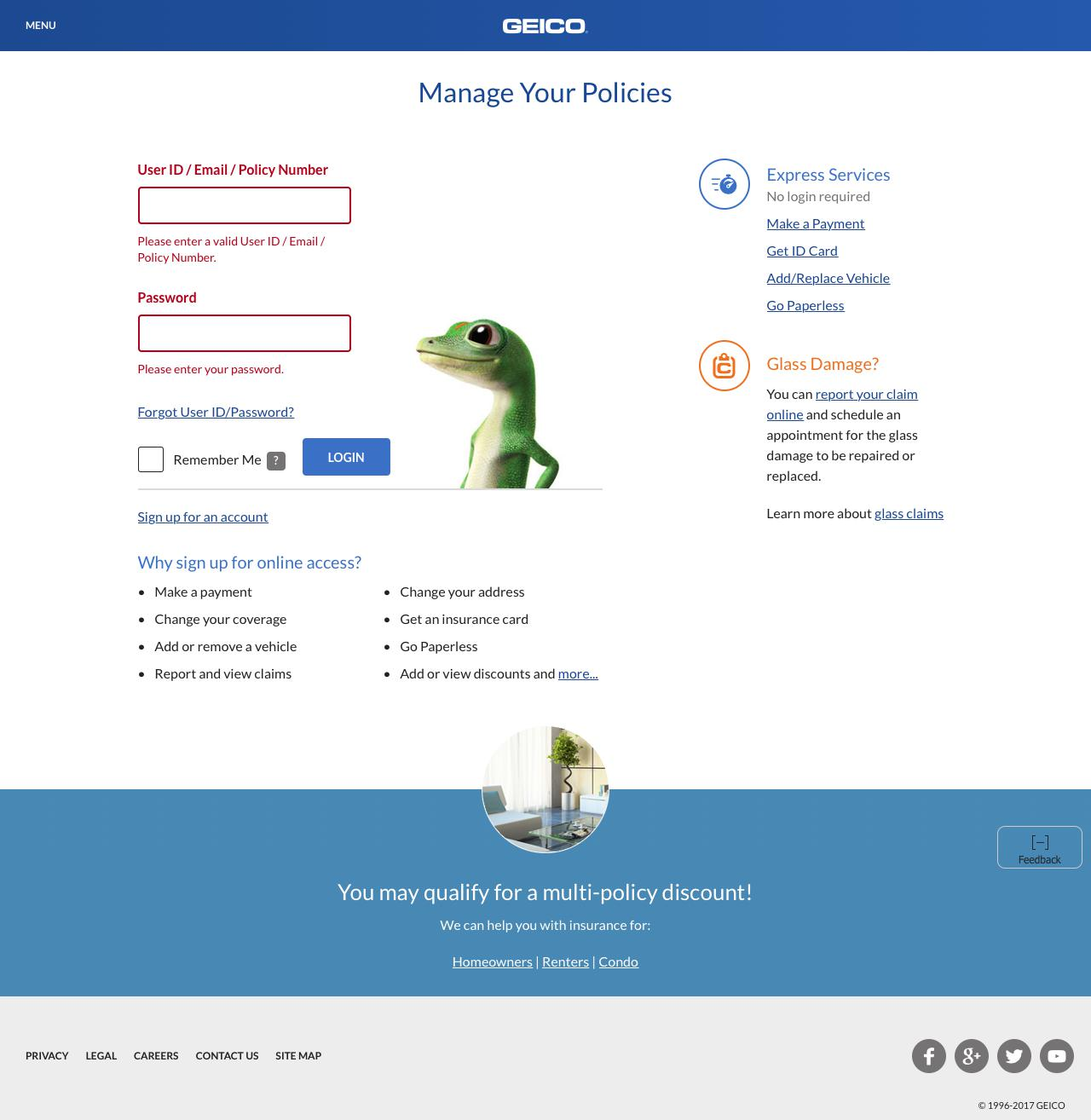 Web Design Example A Page On Geicocom Crayon