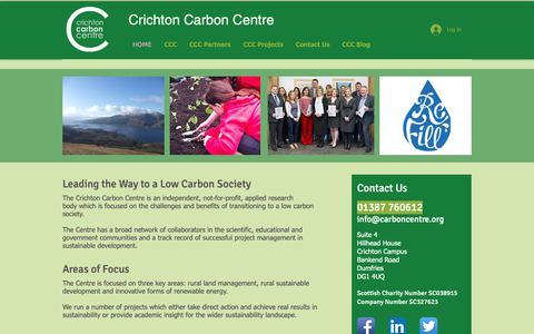 Screenshot of Home Page carboncentre.org - Crichton Carbon Centre - captured Sept. 30, 2018