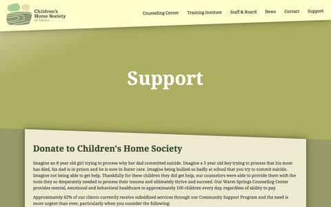 Screenshot of Support Page childrenshomesociety.com - Support - Children's Home Society of Idaho - captured Nov. 5, 2016