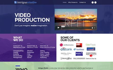 Screenshot of Home Page intriguevideoproduction.com - Long Island Video Production • Promo, Commercials, Demo, Tutorial ... - captured Oct. 15, 2017