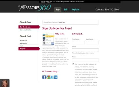 Screenshot of Signup Page thebeaches360.com - Register - captured Oct. 26, 2014