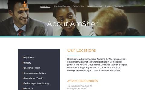 Screenshot of Locations Page amsher.com - AmSher Corporate | Locations - captured Nov. 12, 2018