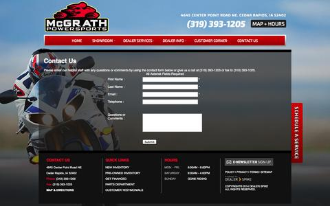 Screenshot of Contact Page mcgrathpowersports.com - Contact Us | McGrath Powersports | Cedar Rapids Iowa - captured Sept. 30, 2014