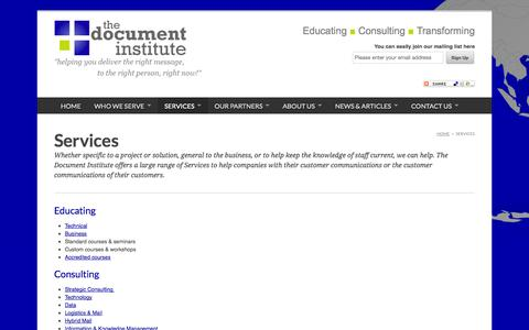 Screenshot of Services Page documentinstitute.com - The Document Institute :: Services - captured Oct. 5, 2014