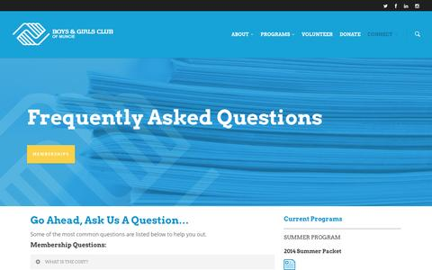 Screenshot of FAQ Page bgcmuncie.org - FAQ |  Boys and Girls Club - captured Oct. 5, 2014