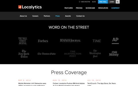 Screenshot of Press Page localytics.com - Localytics Press Room - captured Sept. 16, 2014