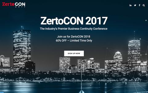 ZertoCON 2017 - The Industry's Premier Business Continuity Conference