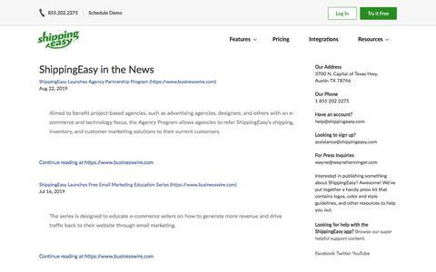 Screenshot of Press Page shippingeasy.com - Press Archive | ShippingEasy - captured Oct. 19, 2019