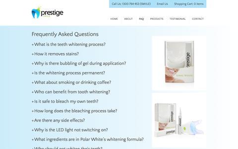 Screenshot of FAQ Page prestigesmile.com.au - FAQ – Prestige Smile - captured Jan. 31, 2016