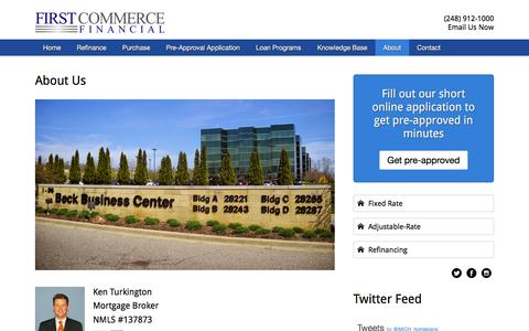 Screenshot of About Page firstcommercefinancial.com - About Us - First Commerce Financial - captured Aug. 3, 2016