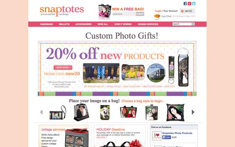 Screenshot of Home Page snaptotes.com - Photo printed, all leather handbags, wallets, accessories, and gifts - Snaptotes - captured Sept. 30, 2014