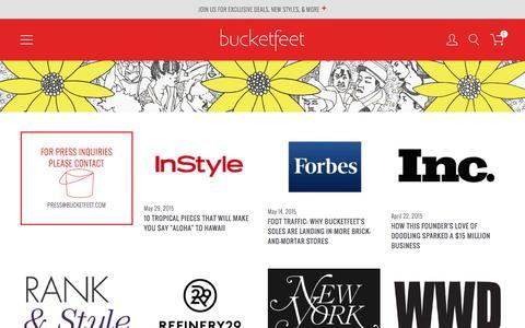 Screenshot of Press Page bucketfeet.com - Press - captured Oct. 1, 2015