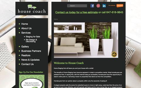Screenshot of Home Page housecoach.ca - House Coach: Toronto Home Staging, Redesign & Decorating Services - captured Dec. 13, 2015