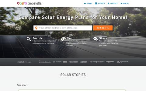 Screenshot of Home Page geostellar.com - Solar Panel Cost Comparison | Residential Solar Panels | Geostellar - captured July 11, 2014