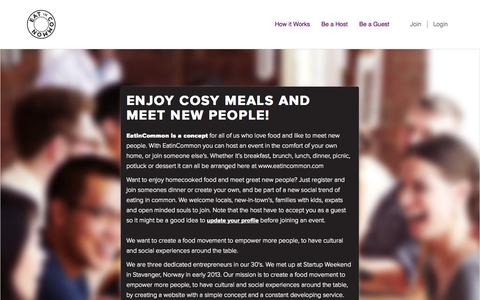Screenshot of About Page eatincommon.com - Eat in Common - About - captured Oct. 1, 2014