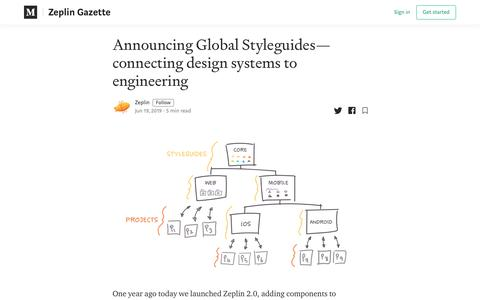 Screenshot of Blog zeplin.io - Announcing Global Styleguides—connecting design systems to engineering - captured Jan. 21, 2020