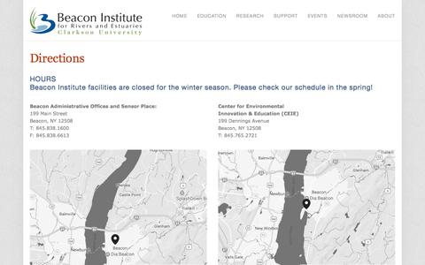 Screenshot of Maps & Directions Page bire.org - Directions — Beacon Institute for Rivers and Estuaries - captured Oct. 10, 2017