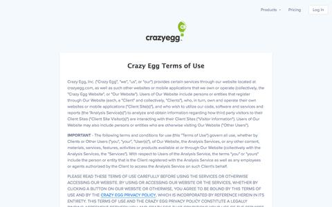 Screenshot of Terms Page crazyegg.com - A/B Testing & Heatmaps - Crazy Egg Website Optimization Software - captured April 1, 2018