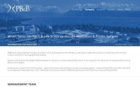 Screenshot of About Page pbbtech.com - Company : PB&B | A Swiss MedTech Start-Up - captured July 6, 2018