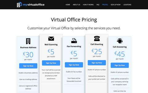 Screenshot of Pricing Page myvirtualoffice.ie - Pricing - My Virtual Office - captured Oct. 26, 2014