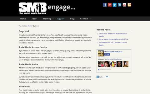 Screenshot of Support Page thesocialmediabureau.com - Services - The Social Media Bureau - captured Sept. 30, 2014
