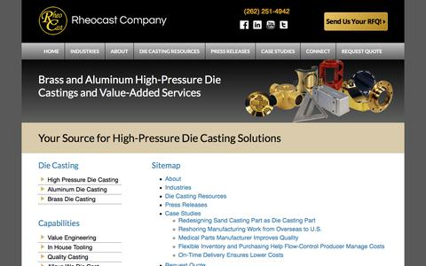 Screenshot of Site Map Page rheocast.com - High Pressure Die Casting - Aluminum & Brass Die Castings - Rheocast Company - captured June 18, 2017
