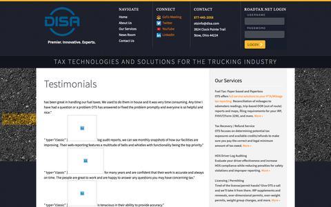 Screenshot of Testimonials Page ots.net - Testimonials    - OTS - Premier. Innovative. Experts. - captured Oct. 18, 2018