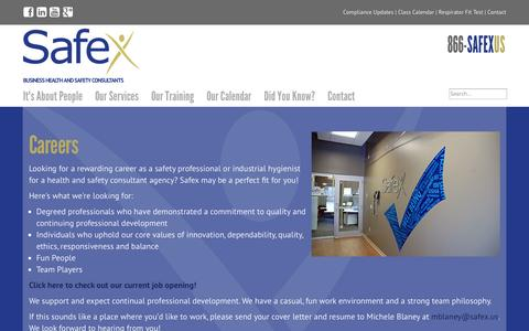 Screenshot of Jobs Page safex.us - Careers - captured Oct. 3, 2014