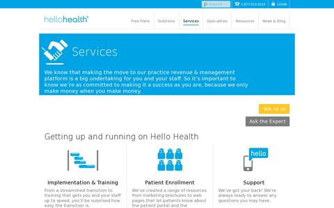 Screenshot of Services Page hellohealth.com - Services for your EHR & practice management platform |Hello Health - captured July 20, 2014