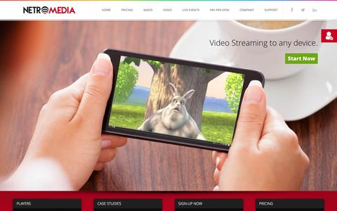 Screenshot of Home Page netromedia.com - Radio, Video & Live Streaming Solutions - NetroMedia - captured Feb. 18, 2016