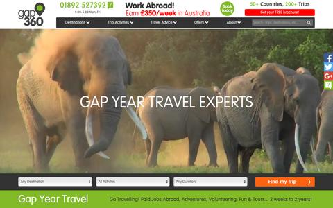 Screenshot of Home Page gap360.com - Gap Year Travel Experts Gap360 offer 200 Amazing Trips in 50 Countries - captured July 11, 2016