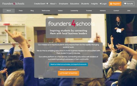 Screenshot of About Page founders4schools.org.uk - About | founders4schools - captured Aug. 21, 2018