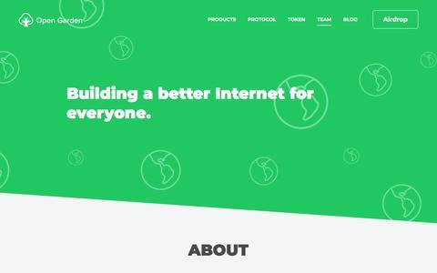 Screenshot of Team Page opengarden.com - Open Garden - captured Aug. 11, 2018