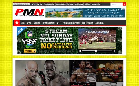 Screenshot of Home Page prommanow.com - Pro MMA Now | MMA, UFC and WWE news and information - captured Sept. 19, 2014