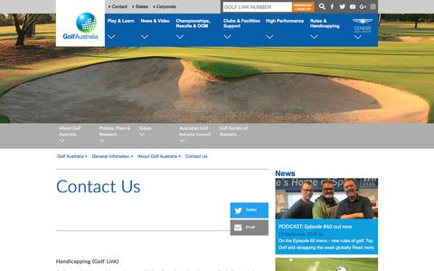 Screenshot of Contact Page golf.org.au - Contact Us - Golf Australia - captured Sept. 13, 2018
