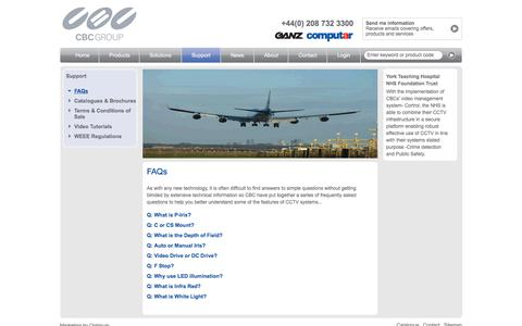 Screenshot of FAQ Page cbceurope.com - CBC Europe - Offering the latest video tutorials and FAQ's - captured Sept. 25, 2018