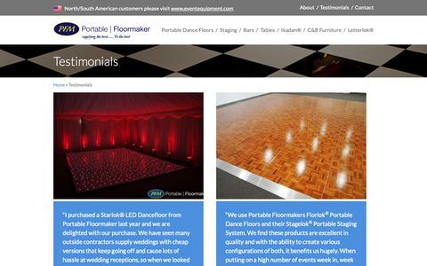 Screenshot of Testimonials Page portablefloormaker.co.uk - Testimonials - Portable Floor Maker - captured June 6, 2019